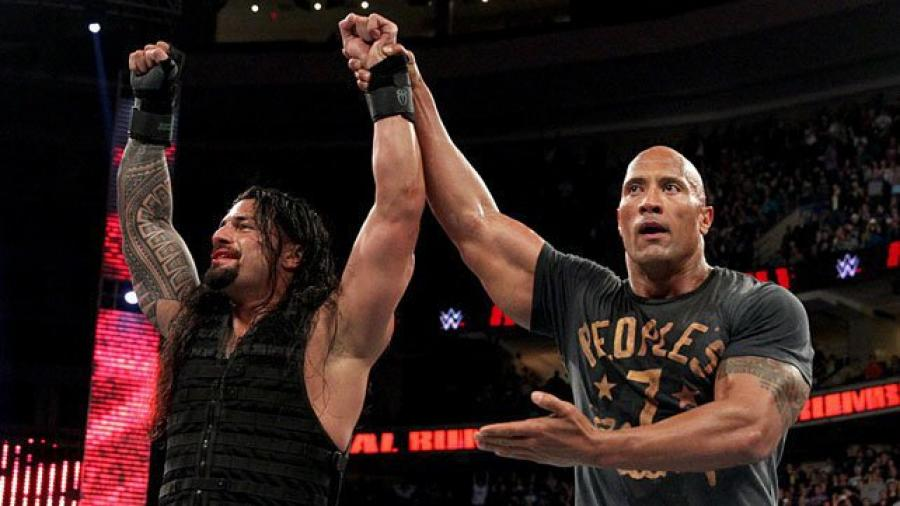 roman reigns and the rock royal rumble 2015
