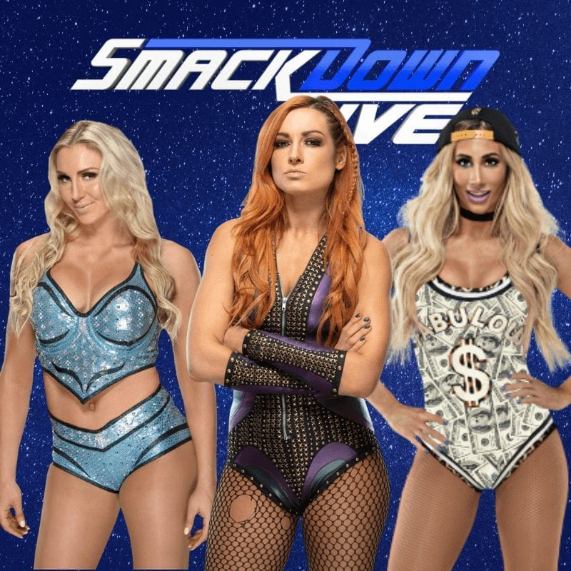 Becky Lynch vs Charlotte Flair vs Carmella