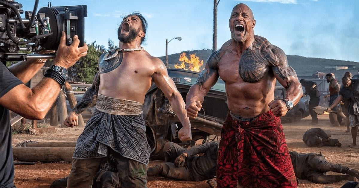 Roman Reigns and The Rock (Dwayn Johnson) in Hobbs & Shaw
