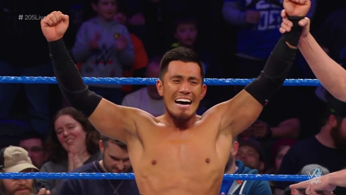 Akira Tozawa won the Fatal 4-Way Elimination match to become the no. 1 contender for WWE Cruiserweight Championship against Buddy Murphy at Elimination Chamber PPV on 17th February this year.