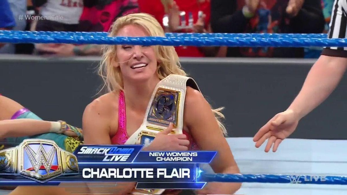 charlotte flair defeat asuka at smackdown live 26 march 2019, charlotte flair new champion at smackdown live 26 march 2019