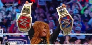 Becky Lynch became the first Women's Double Champion at WrestleMania 35, becky lynch wrestlemania 35, becky lynch raw & smackdown champion both