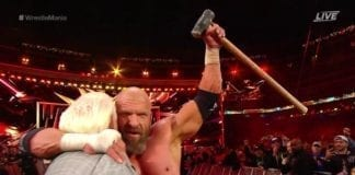Triple H defeat Batista at Wrestlemania 35, triple h wrestlemania 35, triple h & ric flair wrestlemania 35