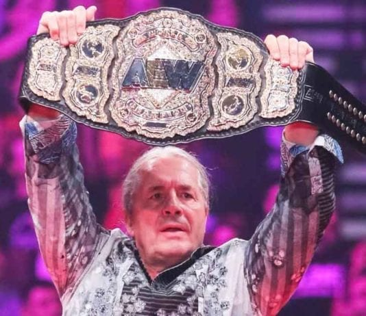Bret Hart Unveils AEW World Title, Breat Hart with AEW World Title