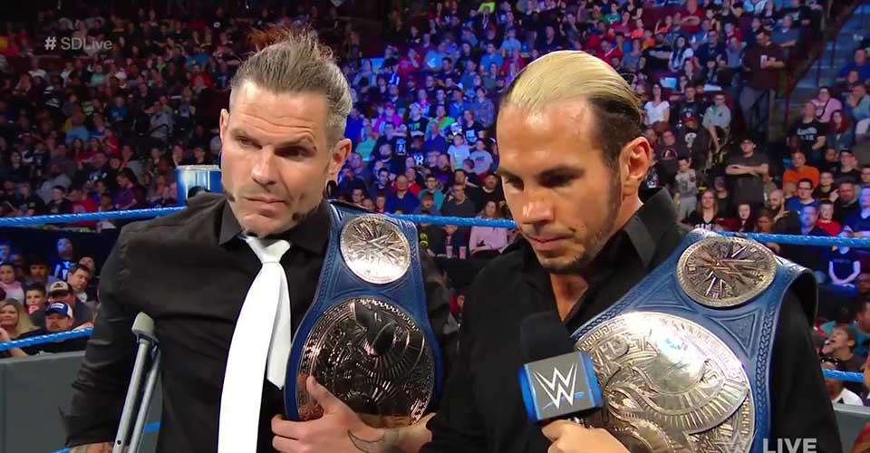 The Hardy Boyz relinquished SmackDown Tag Team Titles