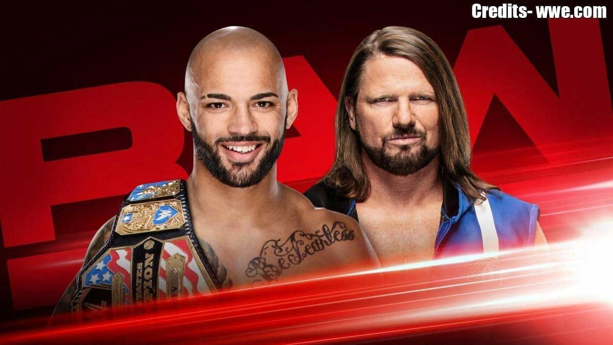 AJ Styles vs Ricochet RAW 24 June 2019
