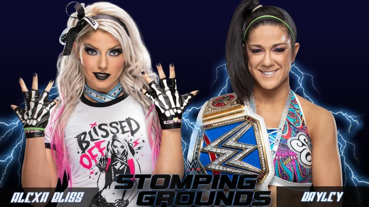 Bayley vs Alexa Bliss WWE Stomping Grounds 2019, Bayley vs Alexa Bliss SmackDown Womens Championship Stomping Grounds 2019