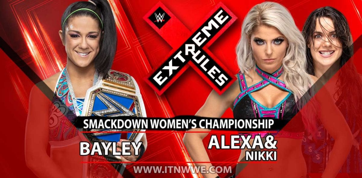 Bayley vs Alexa Bliss & Nikki Cross SmackDown Women's championship Extreme rules 2019