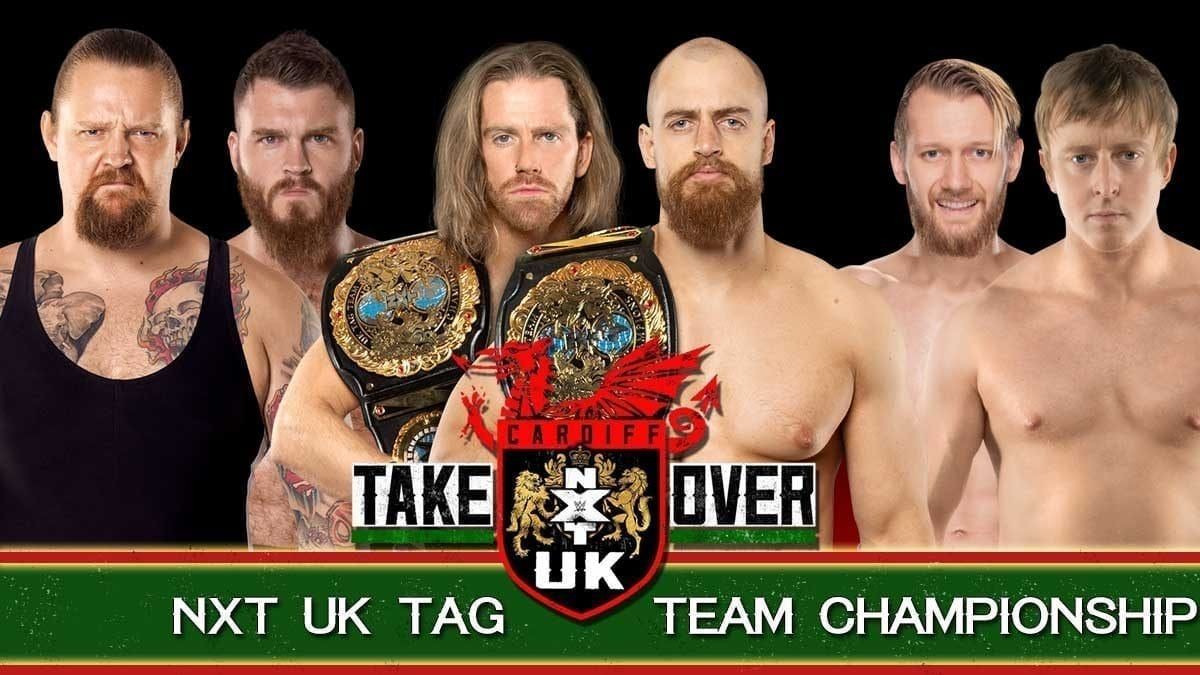 Grizzled Young Veterans (James Drake and Zack Gibson) vs Gallus (Mark Coffey and Wolfgang) vs Mark Andrews and Flash Morgan Webster NXT UK Tag Team Championship nxt uk takeover cardiff 2019