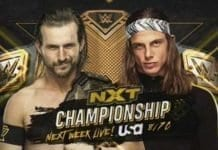 Adam Cole vs Matt Riddle NXT Championship 2 October