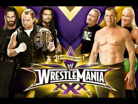 The Shield vs Kane and New Age Outlaws(Road Dogg and Billy Gunn) Wrestlemania 2014