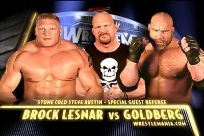 Brock Lesnar vs Goldberg (Stone Cold Steve Austin as a Referee) Wrestlemania 2004