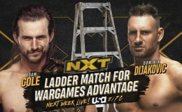 Adam Cole vs Dominic Dijakovic Ladder Match on 20 NXT episode November 2019