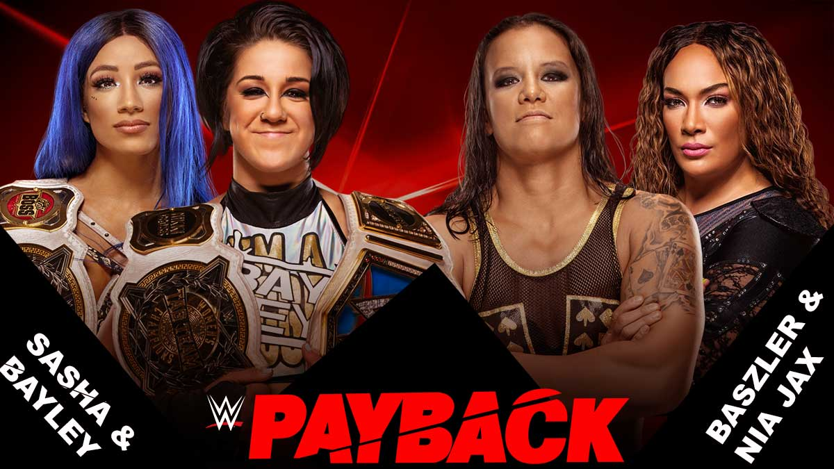 Sasha Banks & Bayley vs Nia Jax & shayna baszler Raw Women's Tag Team Championship wwe payback 2020