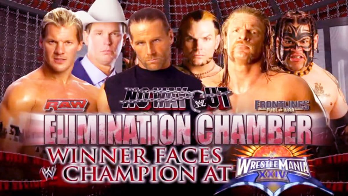 No Way Out 2008 Elimination Chamber Match For WWE Championship match  at WrestleMania XXIV