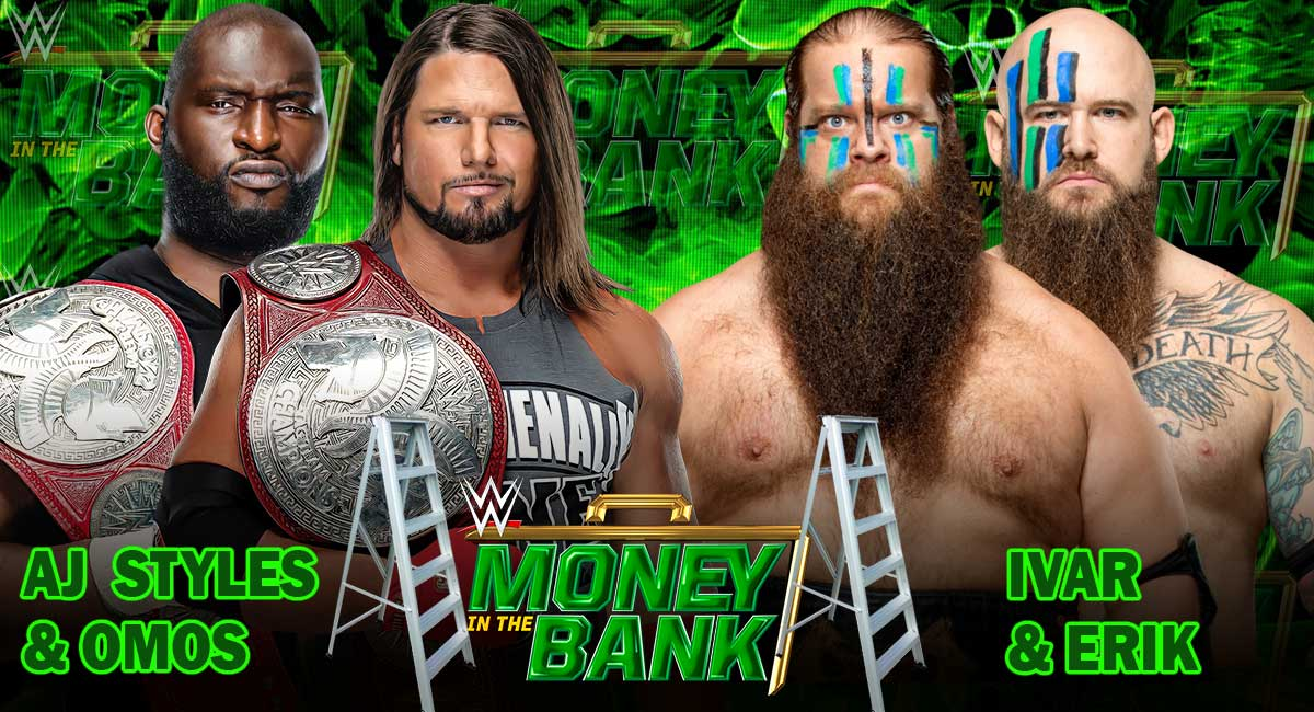 AJ Styles and Omos vs The Viking Raiders WWE Money in the Bank 2021 PPV