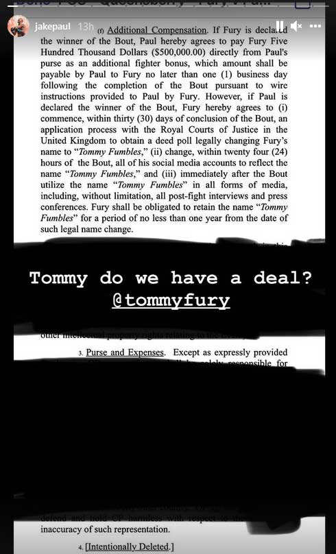 Jake Paul vs Tommy Fury Contract